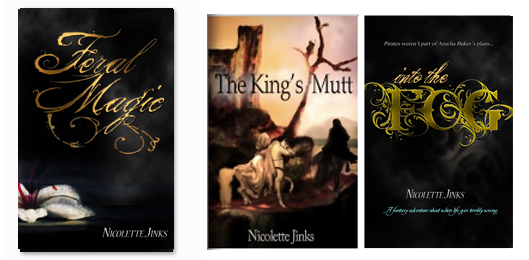Book covers for Feral Magic, The King's Mutt, and Into the Fog